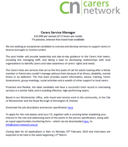 Carers Service Manager Advert